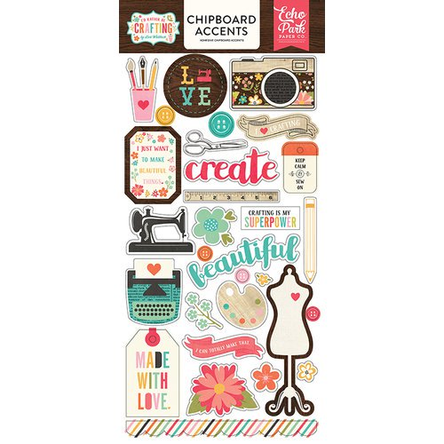 I'd Rather be Crafting - Chipboard Accents