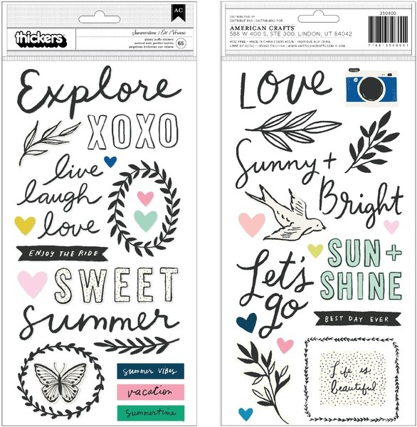 Liebe Papier - Sunny Days - Glossy Puffy Stickers