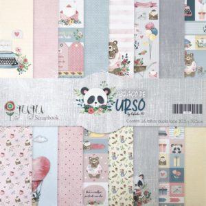 Liebe Papier - Kit Coleção Abraço de Urso Juju Scrapbook (16 Papéis)
