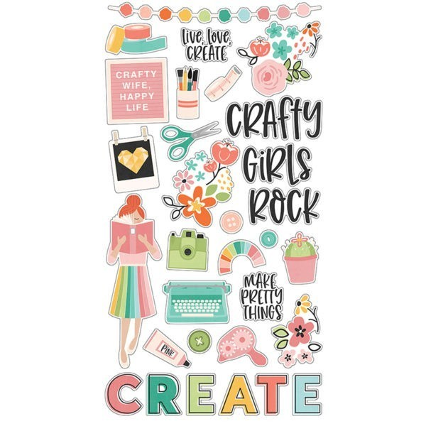 Simple Stories - Hey Craft Girl - Chipboard