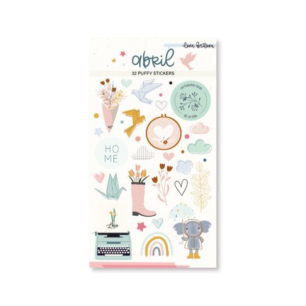 Liebe Papier - Puffy Stickers - Abril